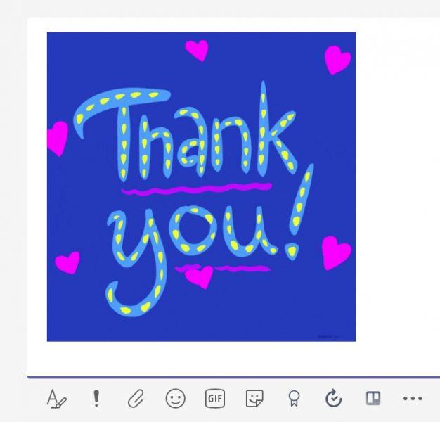 メッセージに「Thank you」が貼り付けられた。
